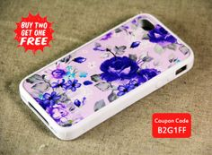Feminine Purple Floral Style iPhone 5S / 5C / 5 / 4S / 4 Tough and Soft Rubber Case, iPod Case on Etsy, $9.99