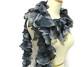 Hand Knit Ruffled Scarf - Black Gray and Blue Gray
