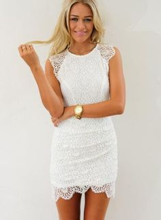 White Lace Overlay Dress #bodycon #capsleeves #partydress #minidress #ustrendy