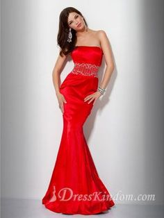 Piccsy :: Chic Hot Trumpet / Mermaid Strapless Floor Length Taffeta Red Evening Dress / Prom Dress 2013 Ho