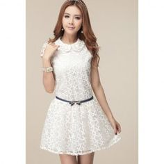 $18.59 Cute Style Doll Collar Short Sleeves Lace Splicing Polyester Dress For Women