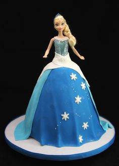 Frozen Elsa the Snow Queen Barbie Doll Standing Cake Children's