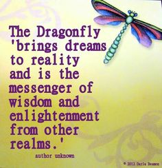 Dragonfly totem: If this is your totem you have the ability to bring your dreams to reality. You are also a messenger of wisdom from other realms
