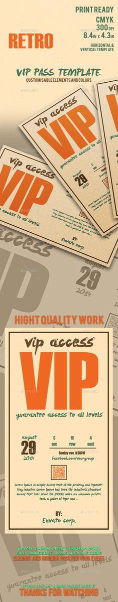 Retro - Elegant Vip Pass Template - Cards & Invites Print Templates Download here: https://graphicriver.net/item/retro-elegant-vip-pass-template/11810842?ref=alena994