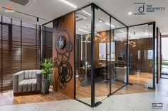 An Office Space with Visual Connectivity and Framed Compositions : The Metal and Tool Project   Sparc Design - The Architects Diary Main Door Handle, Tea Coaster, Wooden Screen, Space Projects, Glass Printing, Glass Partition, Metal Pergola, Floor Space, Modern Industrial