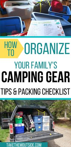 How to pack and organize your camping gear for family camping trips.  Make sure to grab the free printable camping checklists too!  Whether you're car camping, tenting, or have an RV, make sure you've got all the essentials!