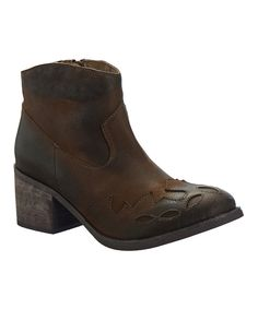 Look what I found on #zulily! Antelope Khaki Heeled Leather Bootie by Antelope #zulilyfinds
