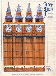 Build your own Big Ben - depending on the size, this might be fun to send to our Compassion kids with maybe a picture of Big Ben and an explanation of what Big Ben is Londres Big Ben London, 3d Paper, Paper Toys, Pop Up Karten, British Party, London Party, House Template, Putz Houses, Thinking Day