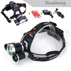XM-L 3*T6+2R  6000 lumen Rechargeable LED  Headlight Outdoor Camp Lamp Head Torch+Ac/CAR Charger+18650 Battery