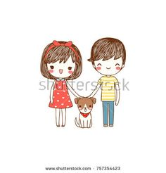 Portrait of happy lovely couple young cute boy and girl smiling and standing with their dog. Isolated on white background. Flat design. Colored vector illustration.