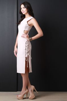 Sophisticated Side Lace Up Dress