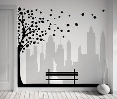 Wall Decal tree New York city view with leaves & by RemakeProject, €128.00