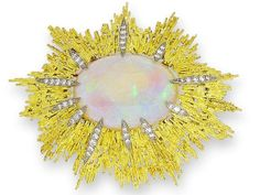 An opal and diamond brooch, by Andrew Grima, 1970 Designed as a stylised sunburst, the central oval cabochon opal, within an abstract surround of textured 18 carat gold rods highlighted with courses of brilliant-cut diamonds, diamonds approximately 0.60 carat total, signed Grima, workshop mark HJCo, London hallmark 1970, length 7.8cm.