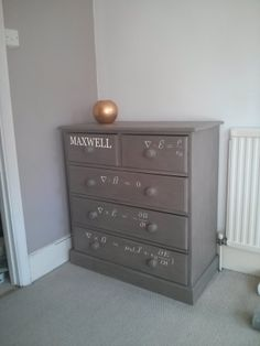 Chest painted French Linen (Annie Sloan Chalk Paint) stencilled with Maxwell's equations