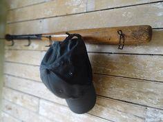 Wooden Vintage Baseball Bat Cap Or Coat Rack With Hooks Sweet