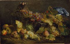 Still life with grapes, a parrot and a monkey