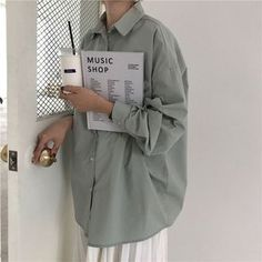 HziriP Women Blouses 2019 Spring Solid Blouse Loose Casual Vacation All-Match Women Tops Shirts Blusas Camisas Mujer 4 Colors Jw Moda, Camisa Oversized, Oversized Shirt Outfit, Korean Blouse, Look Street Style, Casual Outfits, Fashion Outfits, Fashion Pants, 90s Fashion