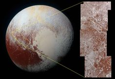 Particles 'Go with the Flow' on Pluto's Surface | Scientists from NASA's New Horizons mission have combined data from two instruments to create this composite image of Pluto's informally named Viking Terra area. The combined data includes pictures taken by the spacecraft's Long Range Reconnaissance Imager (LORRI) on July 14, 2015, from a range of about 31,000 miles (49,000 kilometers), showing features as small as 1,600 feet (480 meters) across.