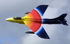 Hawker hunter. First used in 1954, it is still in use today. Love the paint job.
