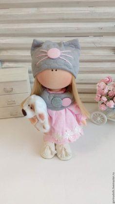 Купить Текстильная кукла. Марта - бледно-розовый, кукла ручной работы, текстильная кукла