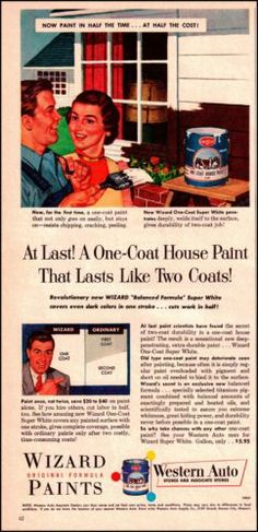1954 Wizard House Paint from Western Auto Original Vintage Print Ad Old Paint Ad | eBay