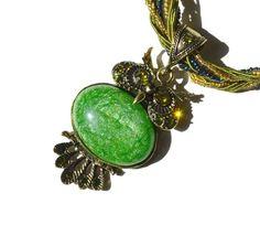 SALE Green Stone Rhinestone Owl Choker by BlingThingsOriginals