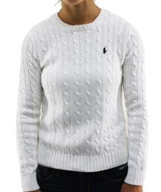 Polo Ralph Lauren Women\u0027s Long Sleeve Knit Sweater White With Small Pony