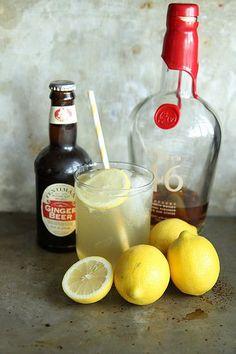 Lemon Ginger Bourbon Fizz - Bourbon, Lemon Juice, Ginger Beer, Club Soda, Lemon Wedges for Garnish.