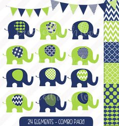 Elephant Clip Art Combo Pack - Baby Elephant - Navy & Lime Green - Digital Papers - Bunting and Flags - Commercial Use Make Your Own Invitations, Paper Bunting, Crisp Image, Blog Design, Baby Elephant, Baby Shower Invitations, Wall Decals, I Shop, Lime