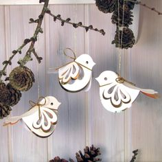 Set of 3 sparrows. 6x8cm. Handmade 3D sparrows by MetteVoldmester, kr99.00