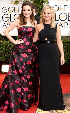Tina Fey & Amy Poehler from 2014 Golden Globes: Red Carpet Arrivals | Carolina Herrera | Stella McCartney | Eiseman Style | Red Carpet