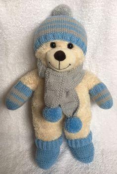 Teddys Pullover  und Mütze  für Teddy Bär oder Puppe  handgestrickt im Zopfmuster