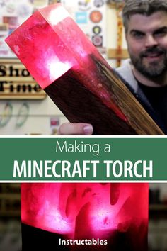 Make a light-up Minecraft redstone torch using polyester resin, redwood, and a flashlight! Wood Shop Projects, Projects For Kids, Diy For Kids, Diy Projects, Minecraft Redstone, Minecraft Crafts, Adult Crafts, Woodworking Workshop, Toys