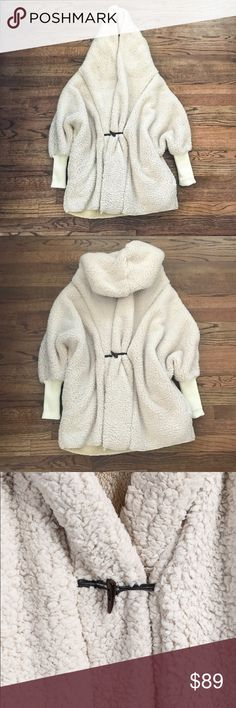Apricot hooded batwing long sleeve loose coat OS Apricot hooded batwing long sleeve loose coat  One-size Never worn Description pictured Jackets & Coats