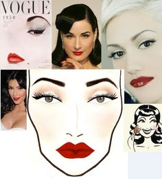 Classic hollywood look makeup, red lips & black eyeliner