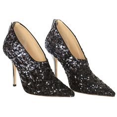 OSCAR DE LA RENTA Black/Silver Sequin Bootie Shoes sz38   See more vintage Shoes at http://www.1stdibs.com/fashion/accessories/shoes in 1stdibs