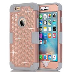 iPhone 6S Plus Case, iPhone 6 Plus Case, ZOSHINY Triple Layer Bling Rhinestone PC with Soft Silicone Case For iPhone 6 6S Plus 5.5 inch Combo Bumper Shockproof Protective Cover -Rose Gold