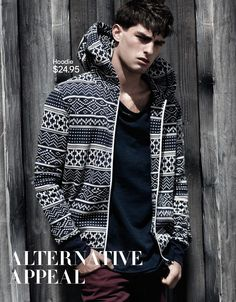 Wearing a hoody printed to look like stranded knitting, Paolo Anchisi has an Alternative Appeal for H