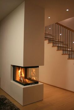 Stoves from the Schönbacher three-sided heating fireplace . Stoves from the Schönbach fireplace, three-sided … – House Design, Farm House Living Room, Home Fireplace, Coffered Ceiling Design, Farmhouse Remodel, Stove Fireplace, Fireplace Design, Modern Cabin, Fireplace