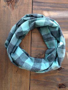 Mint and Black Buffalo Check Flannel Infinity Scarf by KutKloth