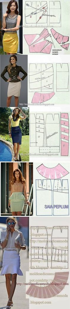 Some interesting draping ideas for skirts Diy Clothing, Sewing Clothes, Clothing Patterns, Dress Patterns, Sewing Patterns, Pola Rok, Creation Couture, Diy Fashion, Fashion Design