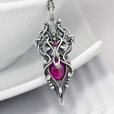 Ruby and Spinel Necklace and Fine Silver Pendant - Mini Lotus