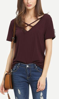 Criss Cross Front Casual T-shirt. $9.99 & more colors avaliable!