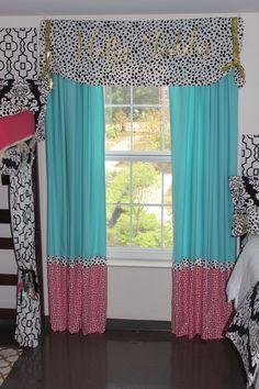 Pink and gold dorm ideas custom window panels Ole Miss Dorm : Black Gold Tiffany Pink | Sorority and Dorm Room Bedding