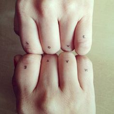 Love or Hate Quote Letters Tattoo on Fingers