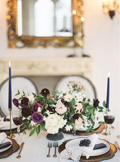 wedding tablescape with beautifully understated plum accents
