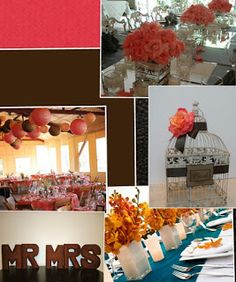 coral and brown wedding decor inspiration