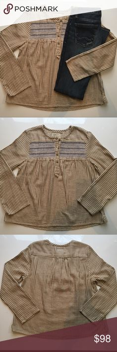 Current Elliott The Retreat Henley Vintage inspired henley top/bohemian vibe with earthy stripes, brass buttons and an embroidered yoke/long sleeves/gently gathers at the front and back which enhances the relaxed look Current/Elliott Tops