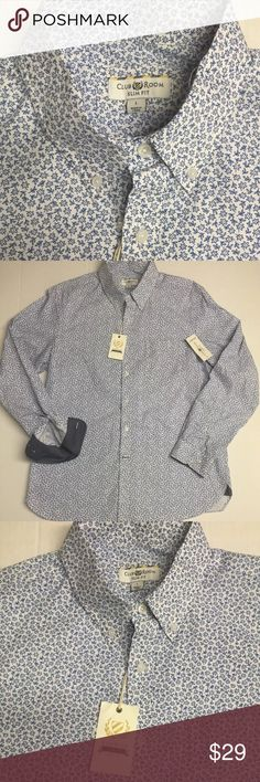 Club Room - SlimFit Large Button Front Shirt Blue Club Room crafted this blue button-down for a clean style with sophisticated appeal. •Cotton •Machine washable •Imported •Club Room men's shirt •Point collar •Button-front closure •Long sleeves •pocket at left chest •Slim  fit Club Room Shirts Casual Button Down Shirts