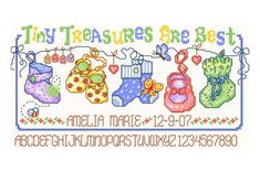 Tiny Treasures - cross stitch pattern designed by Ursula Michael. Category: Baby.